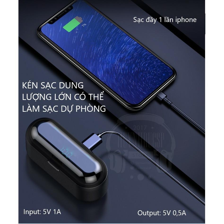 Tai nghe Bluetooth TWS F9 bản Quốc tế True Wireless không dây nút cảm ứng kháng nước, âm thanh stereo