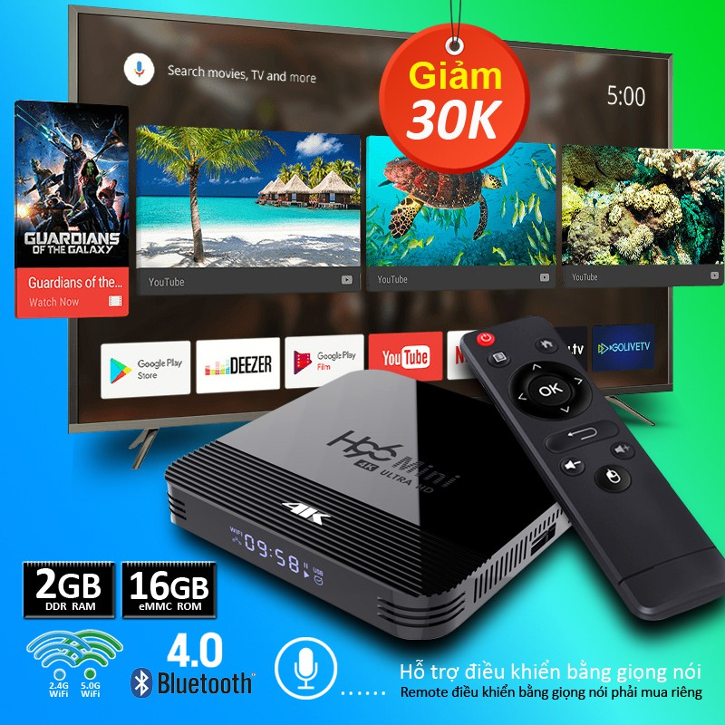 Android Tivi Box Dành cho thị trường Việt Nam Phiên Bản 2G Ram Và 16G Bộ Nhớ Trong bào hành 12 tháng H96MINIH8