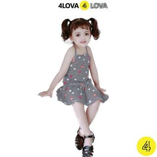 Váy đầm hai dây đuôi cá 4LOVA họa tiết xinh xắn thời trang cho bé gái