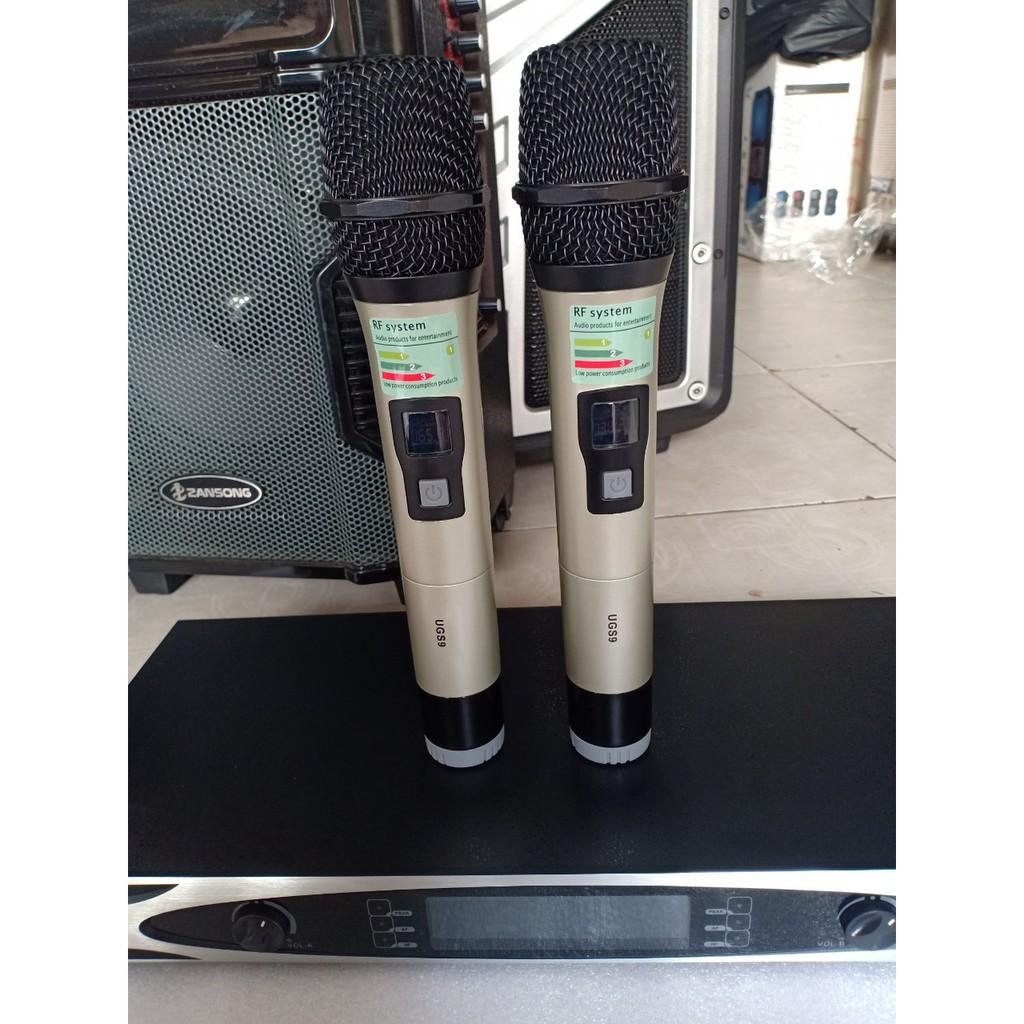 [TẶNG 2 MICRO] Micro SHURE- UGS9 chống hú tốt, sóng UHF thu phát 4 râu bắt sóng xa 100M, hát karaoke cực đỉnh - giá rẻ