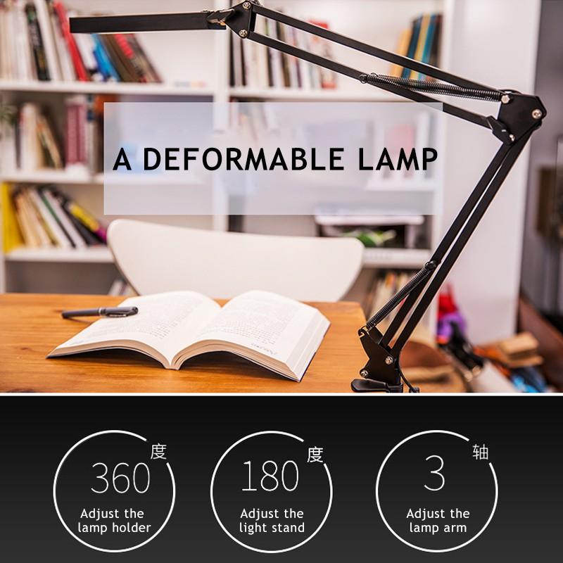 Đèn bàn học tập, làm việc,đèn học chống  cận ,Đèn để bàn kèm kẹp bàn đa năng Đen( bao gồm bóng đèn)