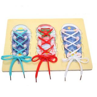 Bộ ghép tranh kết hợp buộc dây giày – phương pháp Montessori