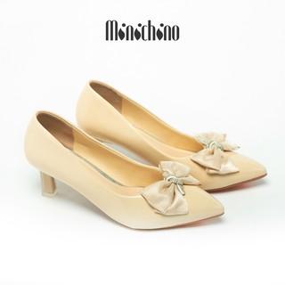 Giày cao gót nữ cao 5cm MINICHINO giày búp bê nữ da bóng, mũi nhọn thời trang màu kem TC006 thumbnail