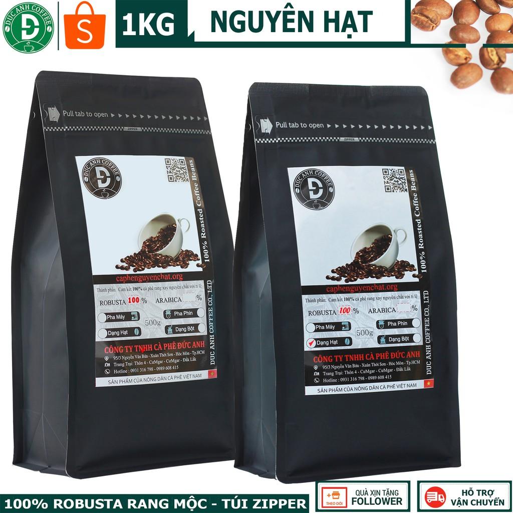 1kg Cà Phê Rang Mộc Nguyên Hạt DUC ANH COFFEE 100% Robusta Buôn Ma Thuột - 2 gói zipper 500gr - CÓ LỰA CHỌN OPTION KHÁC