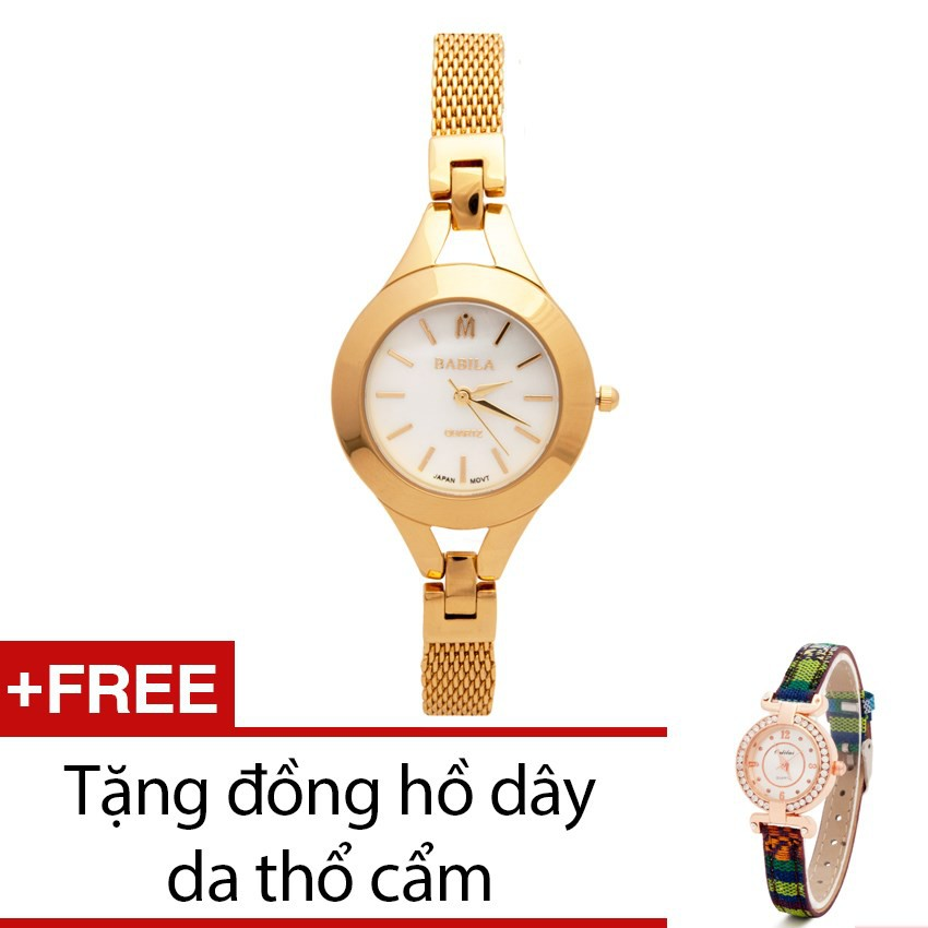 Đồng hồ nữ Babila dây kim loại vàng tặng kèm 1 đồng hồ thổ cẩm - 2402233 , 101039222 , 322_101039222 , 999000 , Dong-ho-nu-Babila-day-kim-loai-vang-tang-kem-1-dong-ho-tho-cam-322_101039222 , shopee.vn , Đồng hồ nữ Babila dây kim loại vàng tặng kèm 1 đồng hồ thổ cẩm