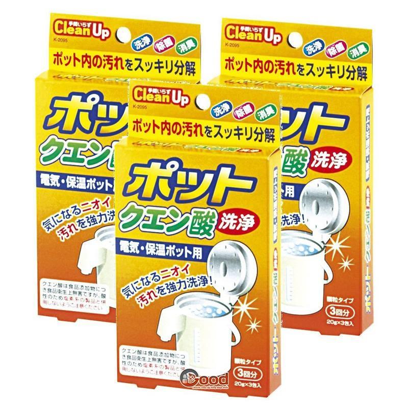 Set 3 gói khử cặn bình nước Nhật
