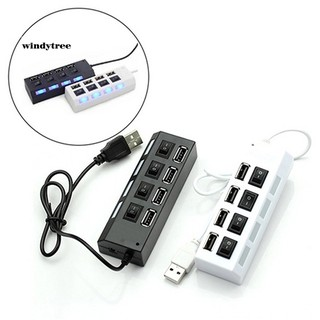 WDTE 4 Port Hub High Speed USB 2.0 ON OFF Switch Indicator Light Splitter Adapter