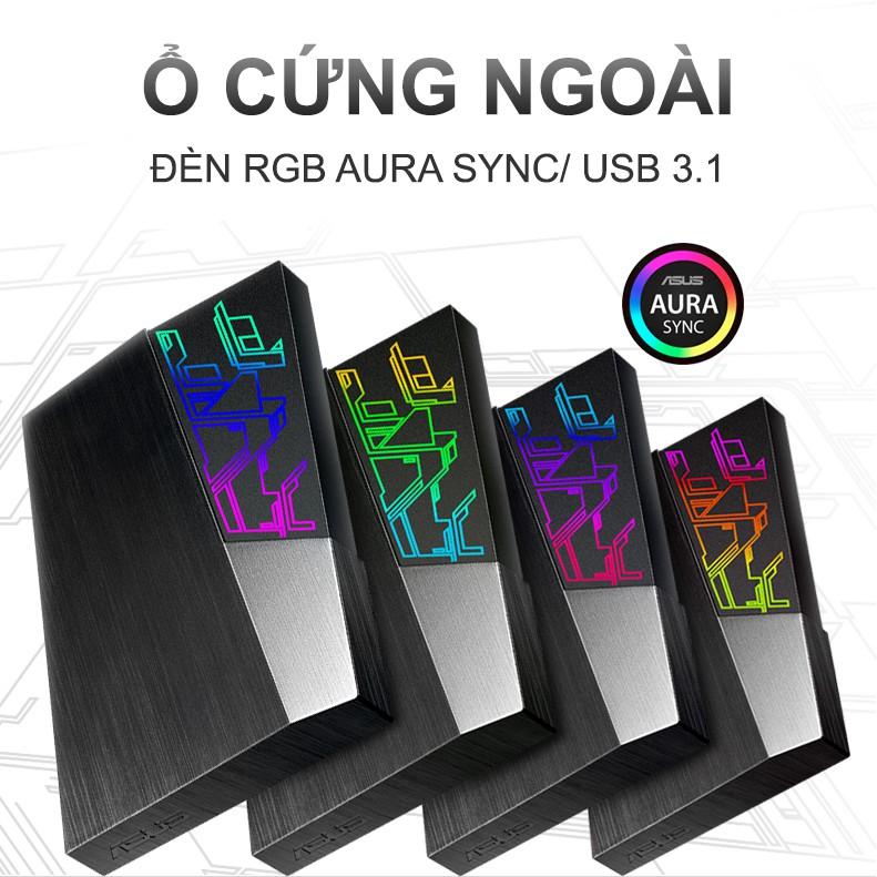 Ổ CỨNG DI ĐỘNG ASUS FX 1TB Aura Sync RGB, USB 3 1 Gen1, Mã hóa AES 256 bit,  Sao lưu tự động, Bảo hành chính hãng 2 năm