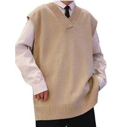 Áo len không tay cổ chữ V màu trơn trẻ trung sành điệu
