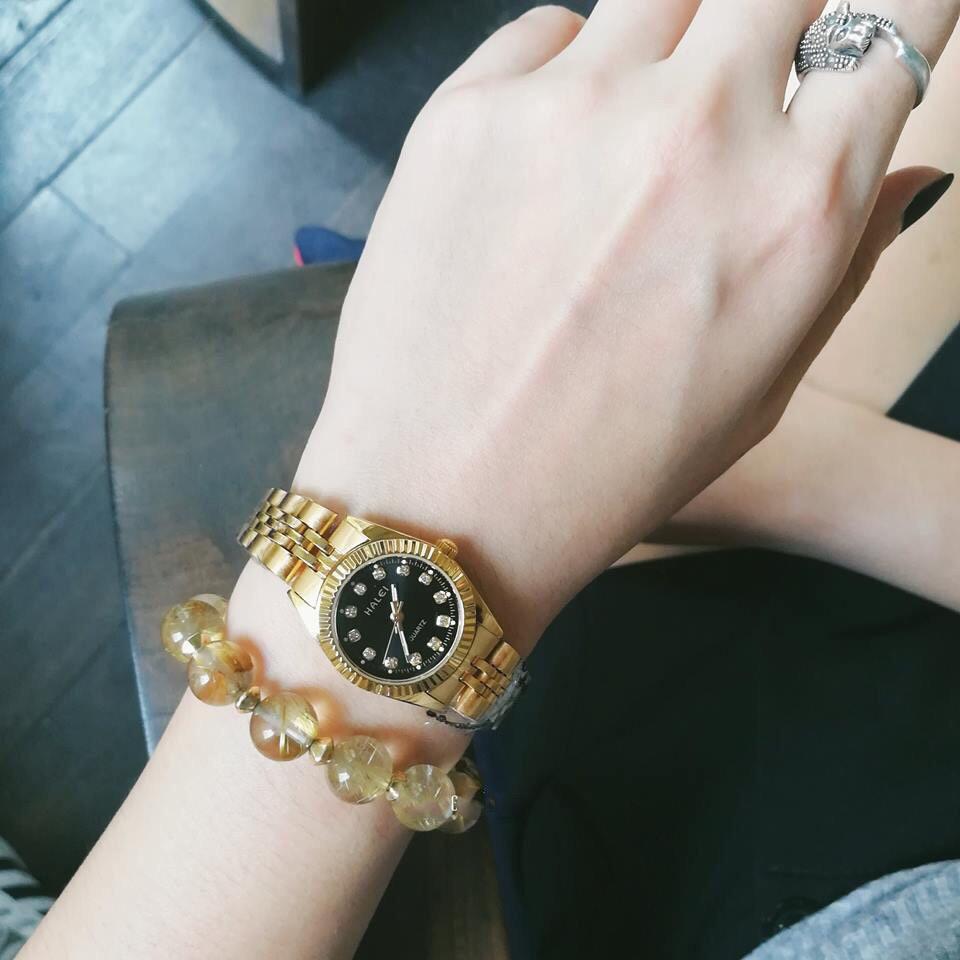 Cặp Đồng hồ đôi Halei máy Nhật mạ vàng không ghỉ dây da thời thượng- giá một cặp