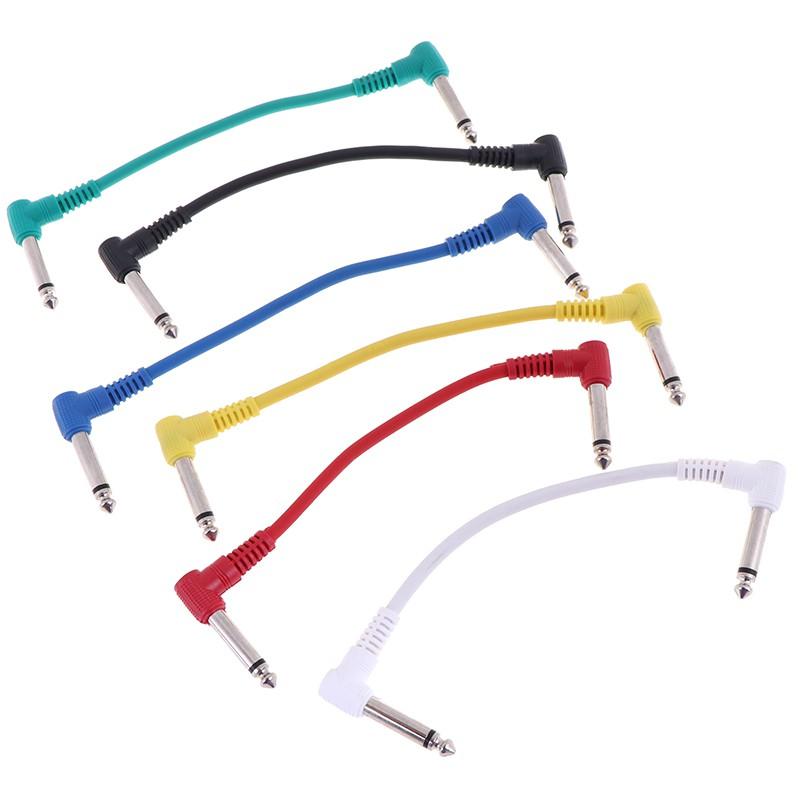 FBVN 6Pcs/Set colorful angled plug audio leads patch cables for guitar pedal effec grand