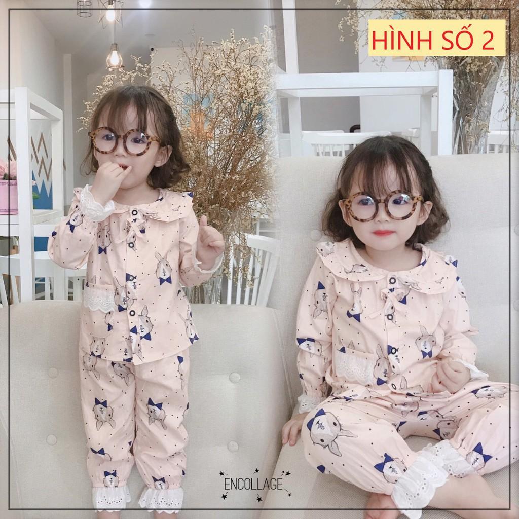 [COMBO 2] Bộ pijama thô lụa dài tay viền ren cổ bèo in hình cho bé gái