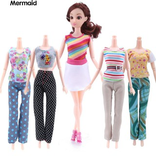 5 Tops + 5 Pants Girl Gift Casual Summer Clothes Outfit for Barbie Doll