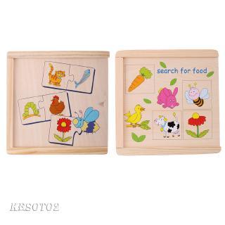 Kids Intelligence Developing Animal & Food Pairing Matching Jiogsaw Puzzsles