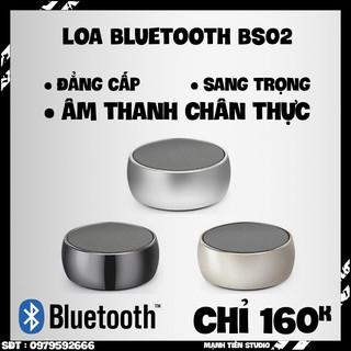 Loa Bluetooth Cầm Tay Mini Bs02, Vỏ Kim Loại, Bass Hay, Có Khe Cắm Thẻ Nhớ, Cổng 3.5