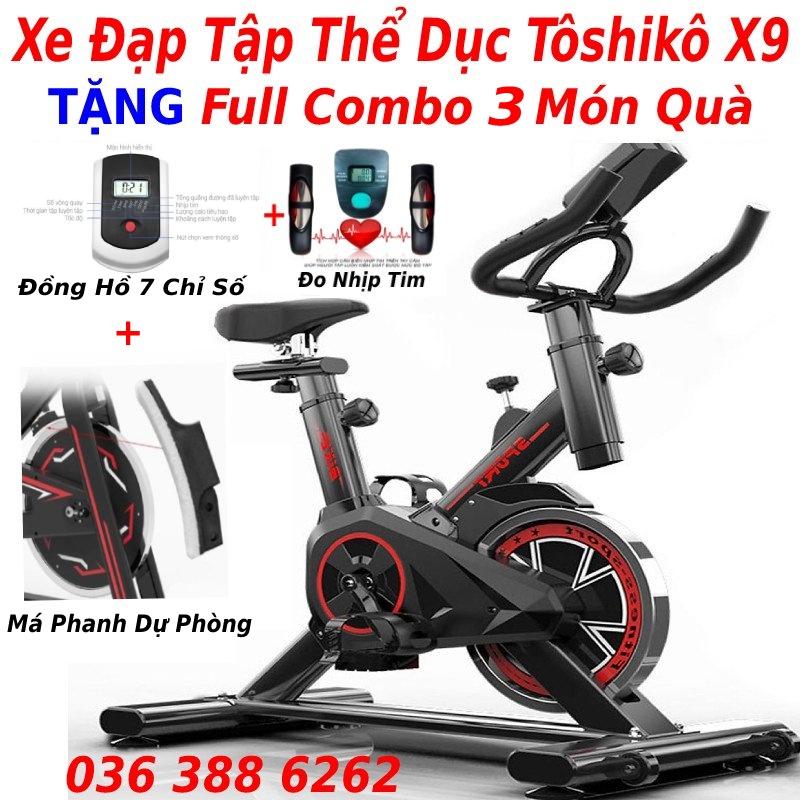 Xe đạp tập thể dục tập gym tại nhà Toshiko X9 tặng full combo 4 món quà tặng, bảo hành 3 năm