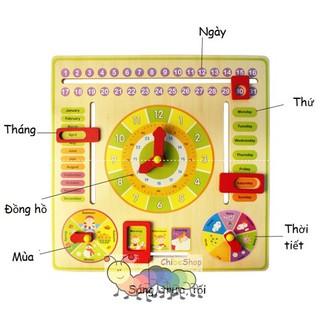 Đồng hồ gỗ mặt tròn có lịch cho bé
