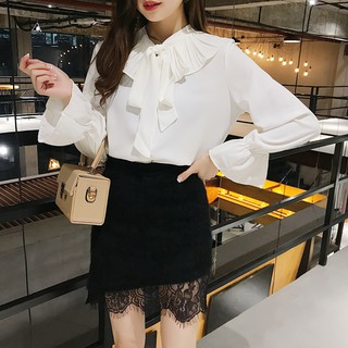 Korean Elegant Chiffon Pleated Ruffle Collar Office Shirt Women Autumn Flare Long Sleeve Top Khaki