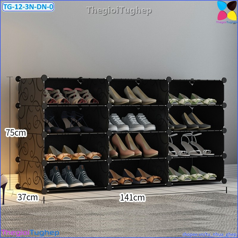 Tủ giầy 12 ô 3 cột 4 tầng bằng nhựa lắp ghép màu đen, trắng, hồng, vàng, xanh (không cánh cửa, để được 24 đôi)