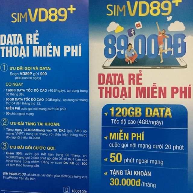 Sim vina miễn phí nội mạng, 120G / tháng