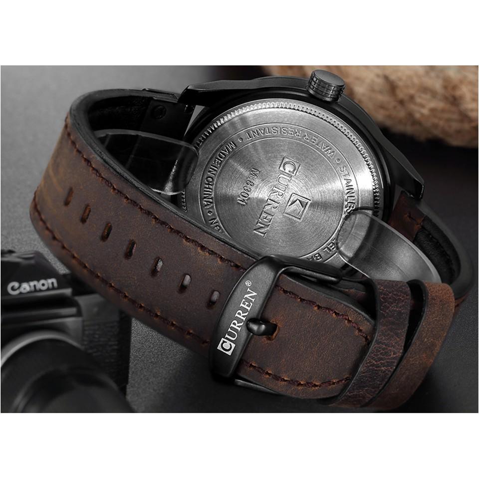 Đồng hồ nam chính hãng Curren AC02 dây da cao cấp, kim dạ quang tuyệt đẹp, thiết kế lịch lãm, chống nước tốt
