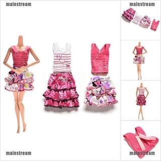 [main] 2 Pcs/set Skirt short-sleeved T-shirt for Barbies Kids Doll Clothes Tutu Skirt [stream]