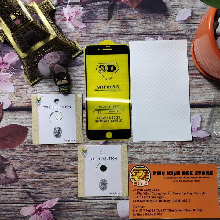 [Rẻ Vô Địch] Cường Lực 9D full màn iphone 6/6plus/ip7/7plus/ip8/8plus Tặng dán Nút home cảm ứng chống trầy