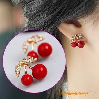 Bông Tai Hình Quả Cherry Đính Đá Dễ Thương Cho Nữ