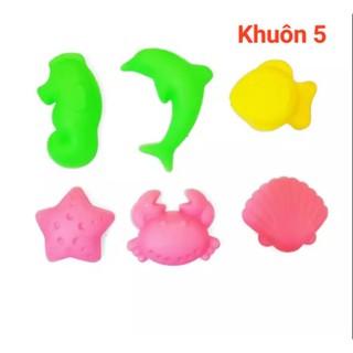 Khuôn nặn cát nhiều hình dạng cho bé gồm 6 khuôn (màu ngẫu nhiên)