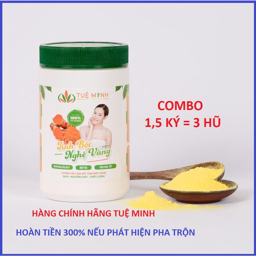 [GIÁ HỦY DIỆT] 1,5 Kg Tinh bột nghệ vàng thủ công nguyên chất Tuệ Minh đóng hộp màng nhôm lô gô Tuệ Minh