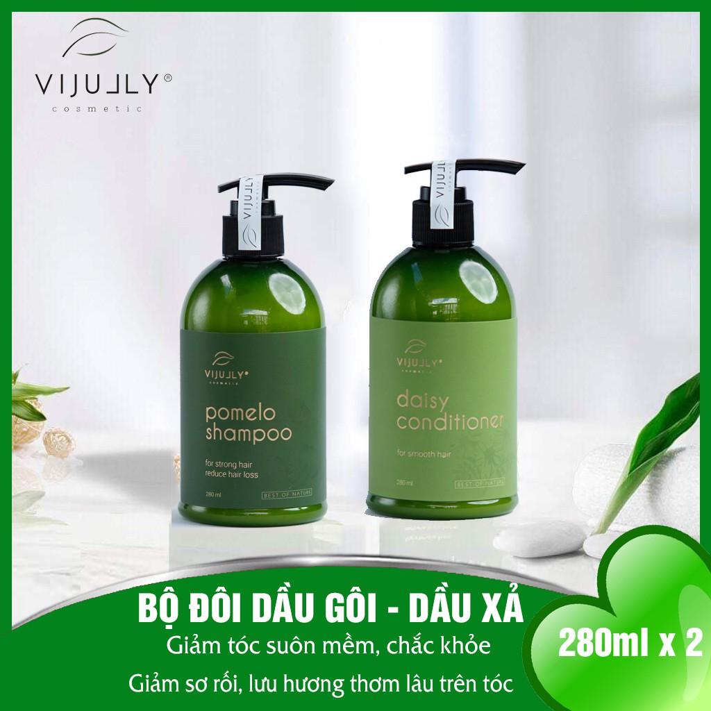 Bộ đôi chăm sóc tóc gãy rụng, hư tổn: Dầu gội Pomelo Shampo 280ml + Dầu xả Daisy Conditioner 280ml