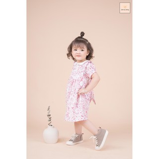 Đầm bé gái cotton xốp cổ sen viền ren,(size 12-30kg).