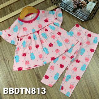 Bộ babydoll tay ngắn quần dài thun borip xinh xắn cho bé gái từ 11 đến 23kg - Bộ quần áo bé gái