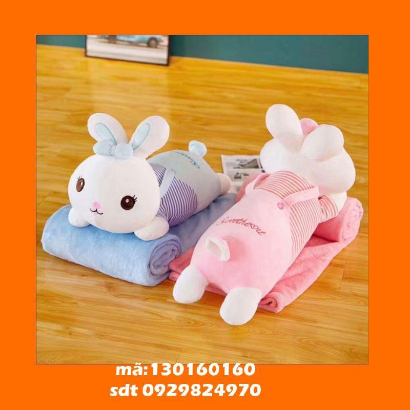 chăn gối văn phòng, gấu bông kèm chăn, gấu bông thỏ có mền, gấu bông thỏ ôm ngủ