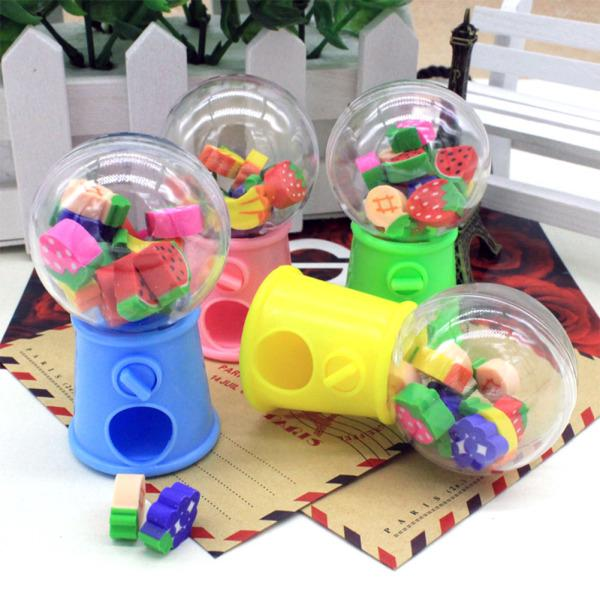 Cute Cartoon Fruit Twisted Egg Machine Eraser Primary Stationery School Students Prizes Gifts
