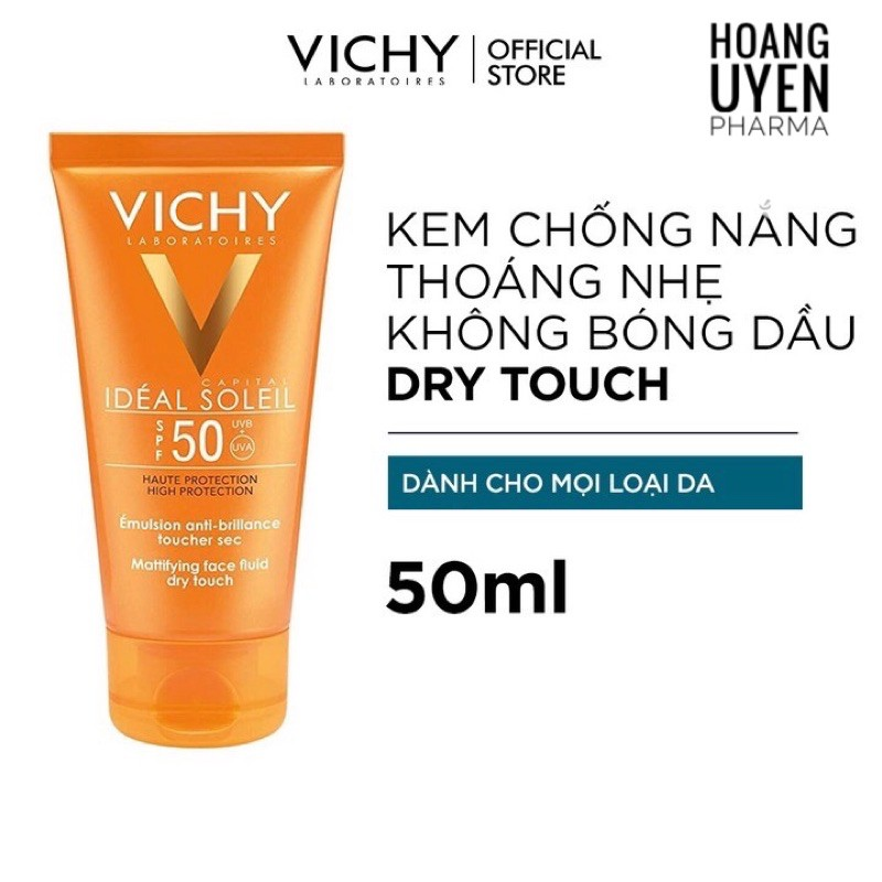 Kem chống nắng Vichy Ideal Soleil Dry Touch SPF 50+ - KCN+SRM Normaderm