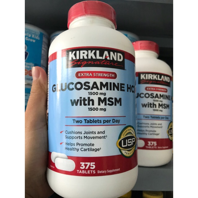 [HSD 09/2021] Thuốc giảm đau, bổ khớp Kirkland Glucosamine HCL with MSM Mỹ, 375 viên (Costco Mỹ)
