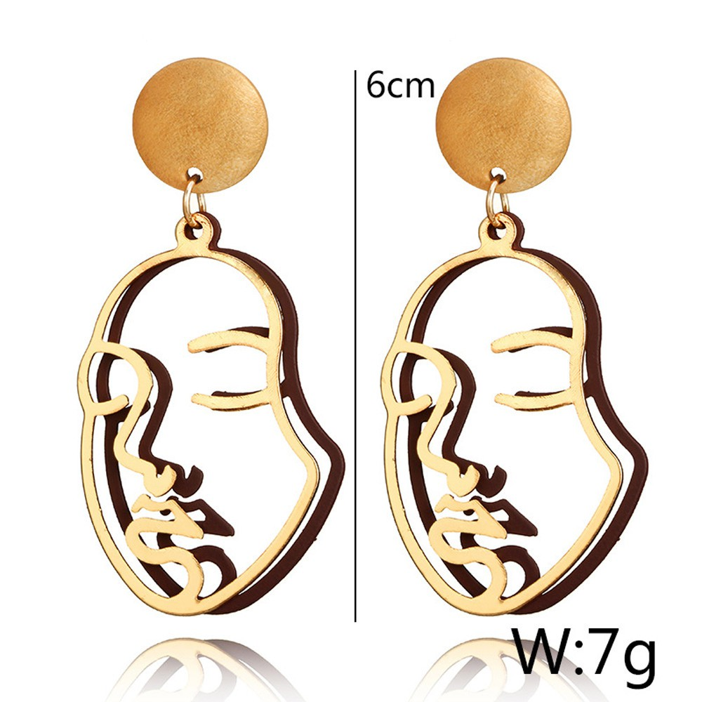 ff2c71cd04dd5 minesky* Abstract Earrings Women Creative Hollow Human Face Palm ...