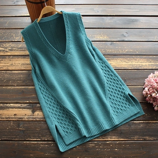 8200 new autumn women's clothing Korean style commuter's all-matching V-neck solid color splicing pullover knitted vest