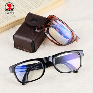 YVETTE Unisex Presbyopic Glasses Portable Compact Reading Glasses Folding Reading Glasses Vision Care Anti Blue Light Diopter +1.0~4.0 with Glasses Case Eyewear TR90 Reading Glasses leopard/black/black