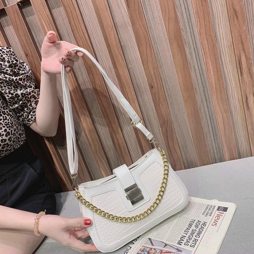 Túi kẹp nách Ngọc Trinh túi xách nữ đeo vai đeo chéo xách tay da vân cá sấu hàng 3 dây TKNA09 + ảnh thật