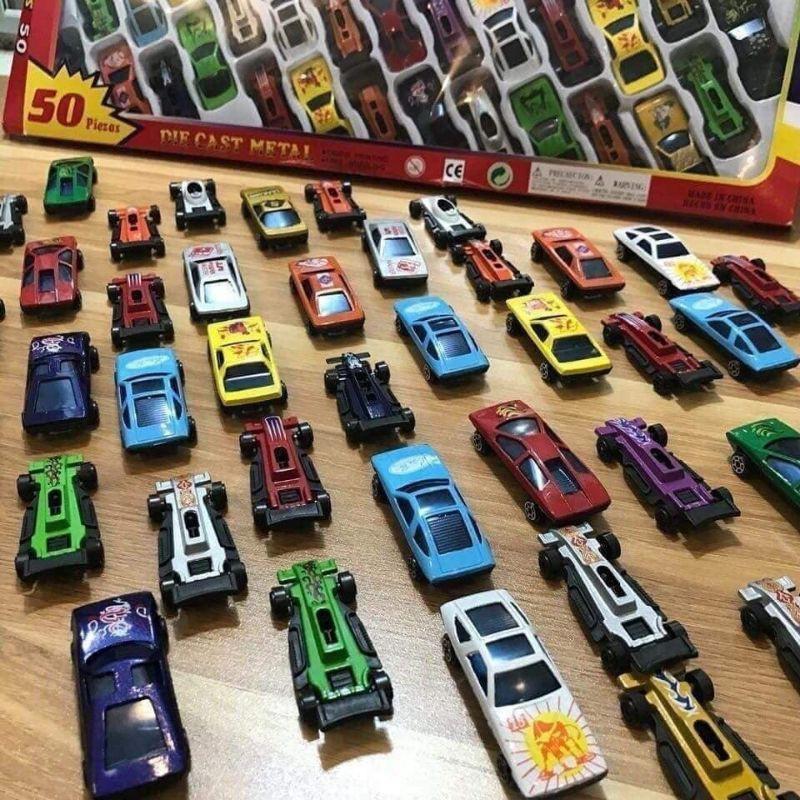 Combo set 50 chiếc ô tô kim loại mini cho bé