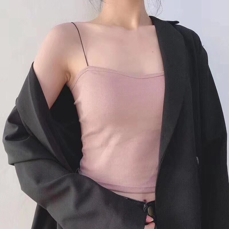 Áo 2 dây sợi bún sexy dáng croptop có đệm ngực siêu hót