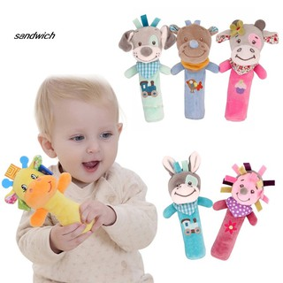 SDWC Plush Donkey Animal Baby Hand Shake Bell BB Rattle Squeaker Stick Education Toy