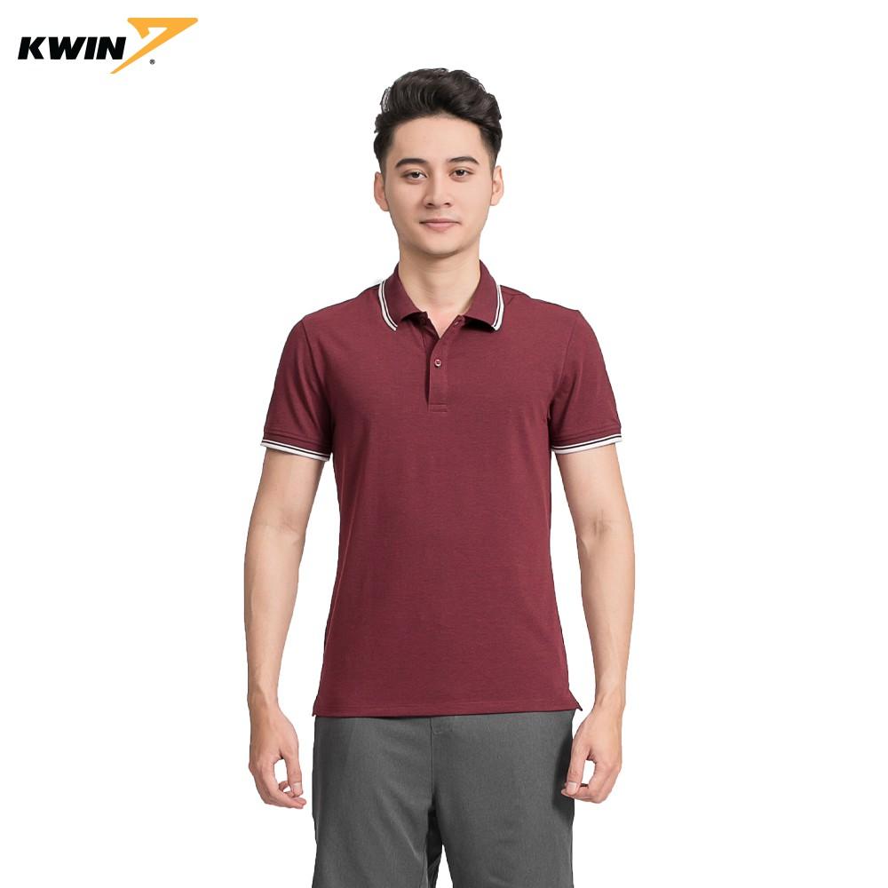 Áo phông trơn có cổ viền trắng KWIN chính hãng 2 màu nhã nhặn, chất liệu cao cấp co giãn tốt KPS023S9
