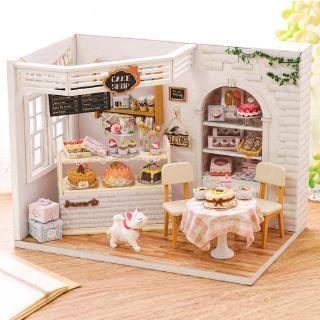 Mô hình nhà gỗ búp bê Tự, Bộ đồ chơi búp bê thu nhỏ với nội thất, làm Nhà thủ công Sưu tầm cho sở thích H14