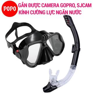 Bộ kính lặn ống thở GOPRO chính hãng POPO mặt nạ lặn biển gắn được Gopro SJCAM kèm ống thở lặn biển ngăn nước