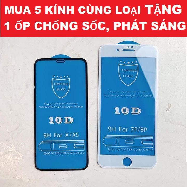 Cường Lực Iphone 10D FULL MÀN Thiết Kế Mới Cho Iphone 6/6s/6 Plus/6sPlus/7/8/7 Plus/8Plus/X/XR/XS Max