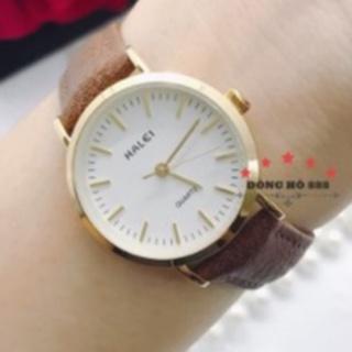 Đồng hồ nữ đeo tay chính hãng Halei dây da nặt số vạch mạ vàng chống nước thời trang giá rẻ