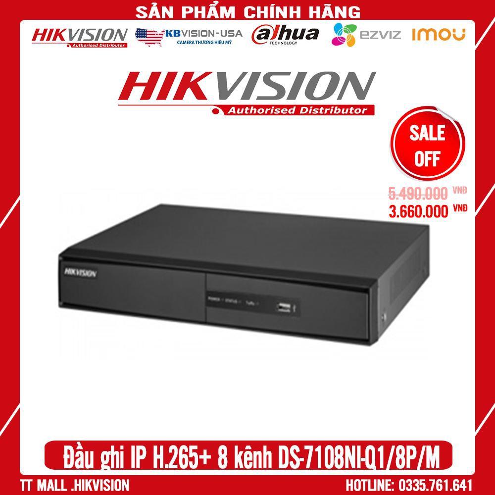[Giá Hủy Diệt] Đầu ghi hình IP vỏ sắt 8 kênh  Hikvision DS-7108NI-Q1/8P/M  hỗ trợ POE